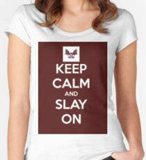 Keep Calm And Slay On - Large Burgundy  Women's Fitted Scoop T-Shirt