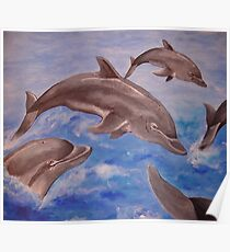 A Pod of Playful Jumping Dolphins Poster