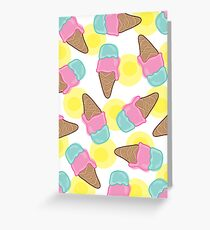 Retro Pink Strawberry And  Mint Ice-Cream Cones Greeting Card