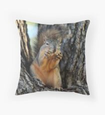 Squirrely Squints Throw Pillow