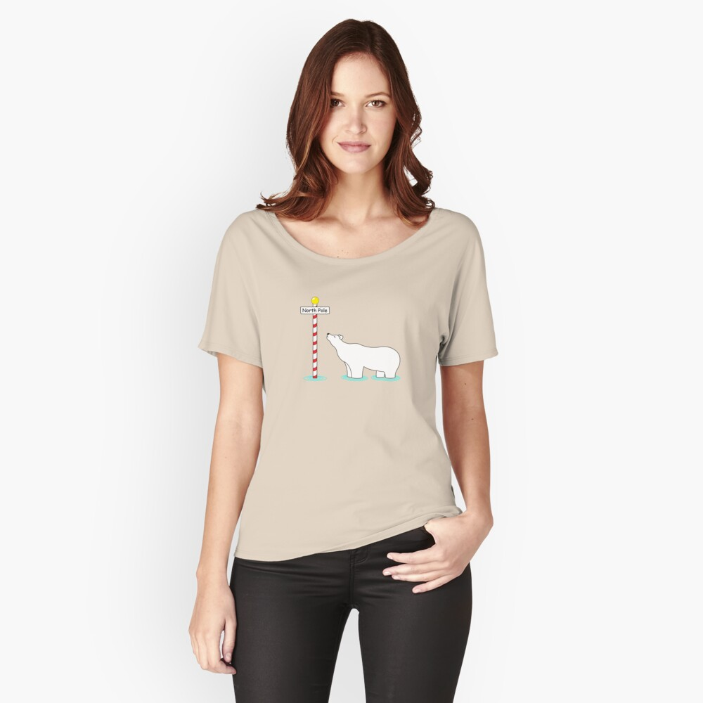 Paddling at the pole. Women's Relaxed Fit T-Shirt Front