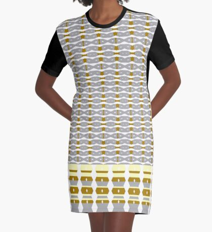 Beautiful Royal Silver and Gold Design Graphic T-Shirt Dress