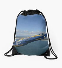 An F/A-18 Hornet from the Blue Angels during a training flight. Drawstring Bag