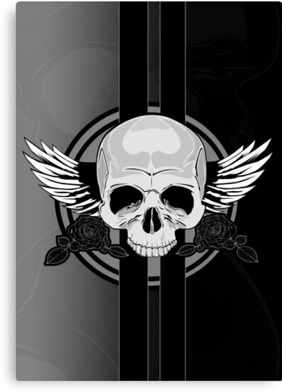 Wing Skull - BLACK & WHITE by Adam Santana