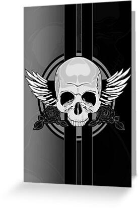 Wing Skull - BLACK & WHITE by Adam Santana