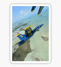 An F/A-18 Hornet of the Blue Angels flies over the Florida Keys. Sticker