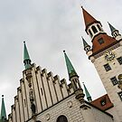 Marvelous Munich - Altes Rathaus Old Town Hall Against the Angry Sky by Georgia Mizuleva