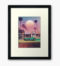Synthwave Sunset Drive Framed Print