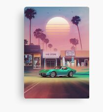 Synthwave Sunset Drive Canvas Print