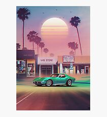 Synthwave Sunset Drive Photographic Print