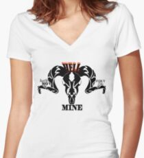 Hell Hath No Fury Black Print Women's Fitted V-Neck T-Shirt
