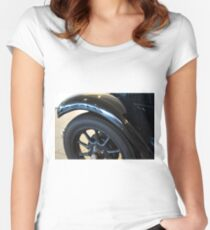 Close up on black vintage car wheel Women's Fitted Scoop T-Shirt