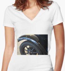 Close up on black vintage car wheel Women's Fitted V-Neck T-Shirt