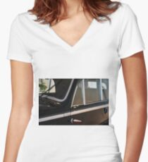 Side doors and windscreen of classic vintage black car Women's Fitted V-Neck T-Shirt