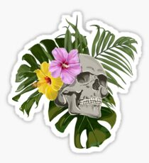 Skull With Exotic Flowers Pattern Sticker