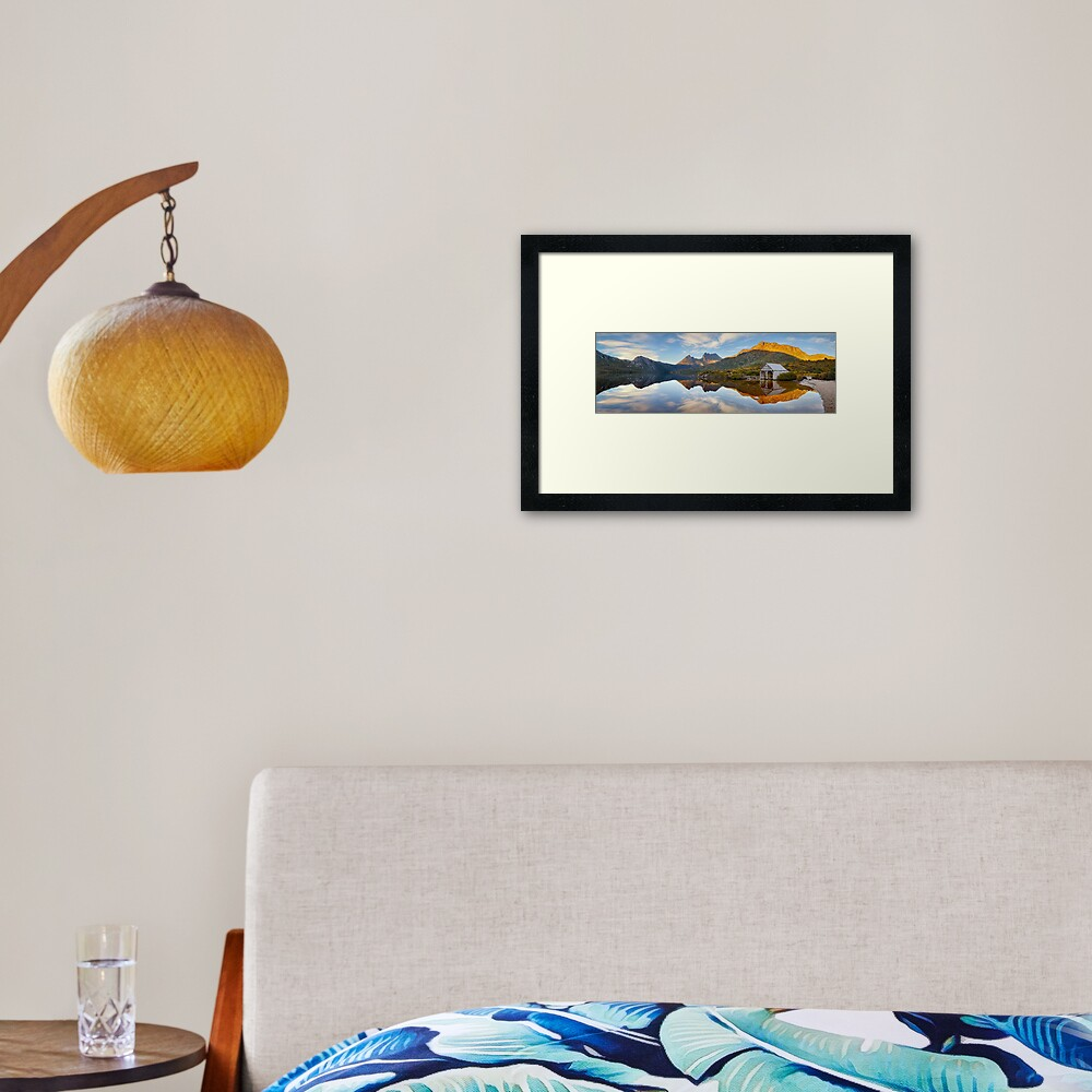 Dove Lake Boat Shed, Cradle Mountain, Australia Framed Art Print
