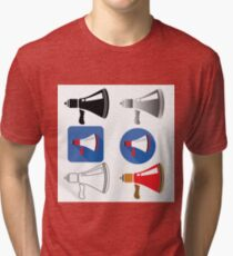colorful illustration  with megaphone on white backgrounds Tri-blend T-Shirt