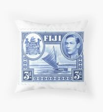Stamp - George-vi-stamp - Fiji - Blue - Boat Throw Pillow