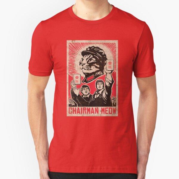 Meow Mao China cat meme Slim Fit T-Shirt