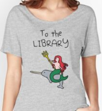 To The Library (Mermaid Riding Narwhal) Women's Relaxed Fit T-Shirt