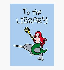 To The Library (Mermaid Riding Narwhal) Photographic Print