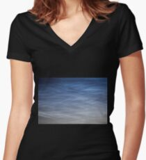 Noctilucent cloud (NLC, night clouds), cloud-like phenomena in mesosphere Women's Fitted V-Neck T-Shirt
