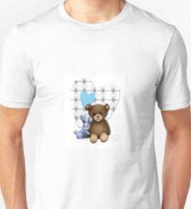 Coeur, nounours et lapin bleu Unisex T-Shirt