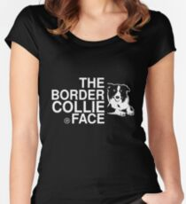 The Border Collie Face Women's Fitted Scoop T-Shirt