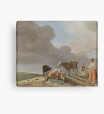 Landscape with cows, sheep and shepherdess, altered copy of a painting by Paulus Potter, the shepherdess copied from a painting by Karel Dujardin Canvas Print
