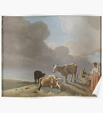 Landscape with cows, sheep and shepherdess, altered copy of a painting by Paulus Potter, the shepherdess copied from a painting by Karel Dujardin Poster