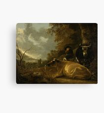 Landscape with Cows and a Young Herdsman, Aelbert Cuyp, 1650 - 1670 Canvas Print