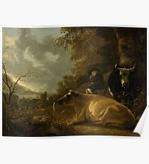 Landscape with Cows and a Young Herdsman, Aelbert Cuyp, 1650 - 1670 Poster