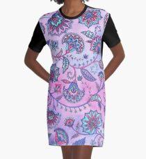 Persian Flowers Graphic T-Shirt Dress