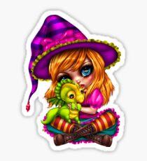 Witch with baby dragon Sticker