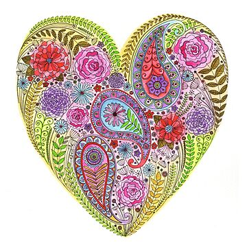 Heart Filled with Flowers by SarahTravisArt