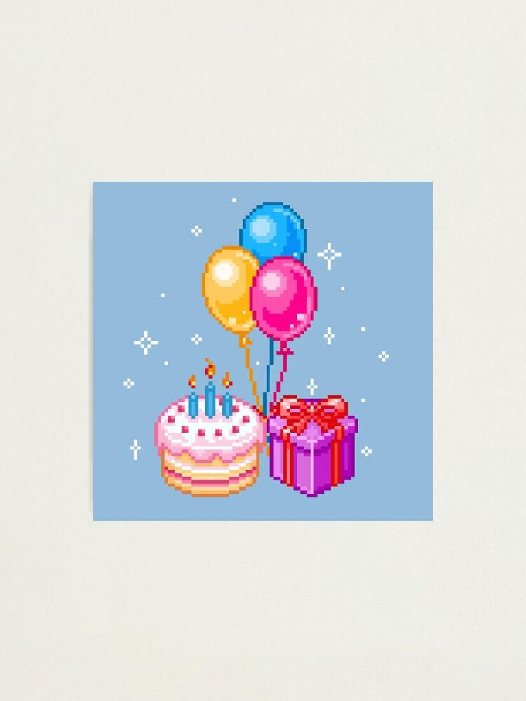 Pixel Art Joyeux Anniversaire Impression Photo