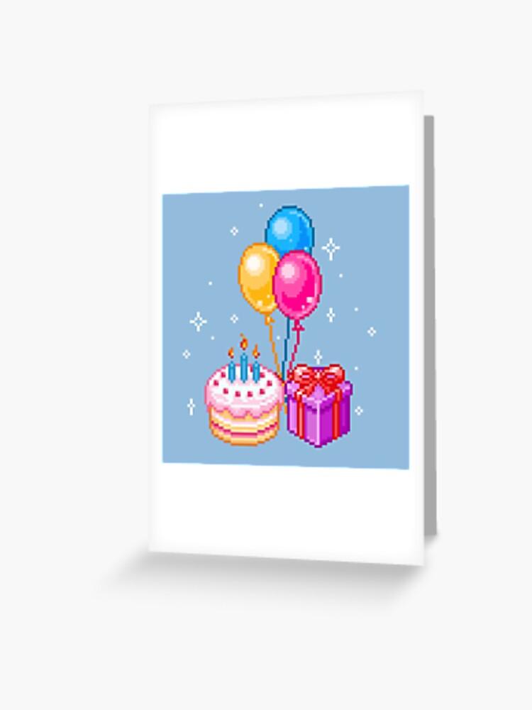 Pixel Art Joyeux Anniversaire Carte De Vœux