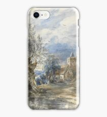 John Constable R.A. A WILLOW BESIDE WATER, A CHURCH BEYOND iPhone Case/Skin