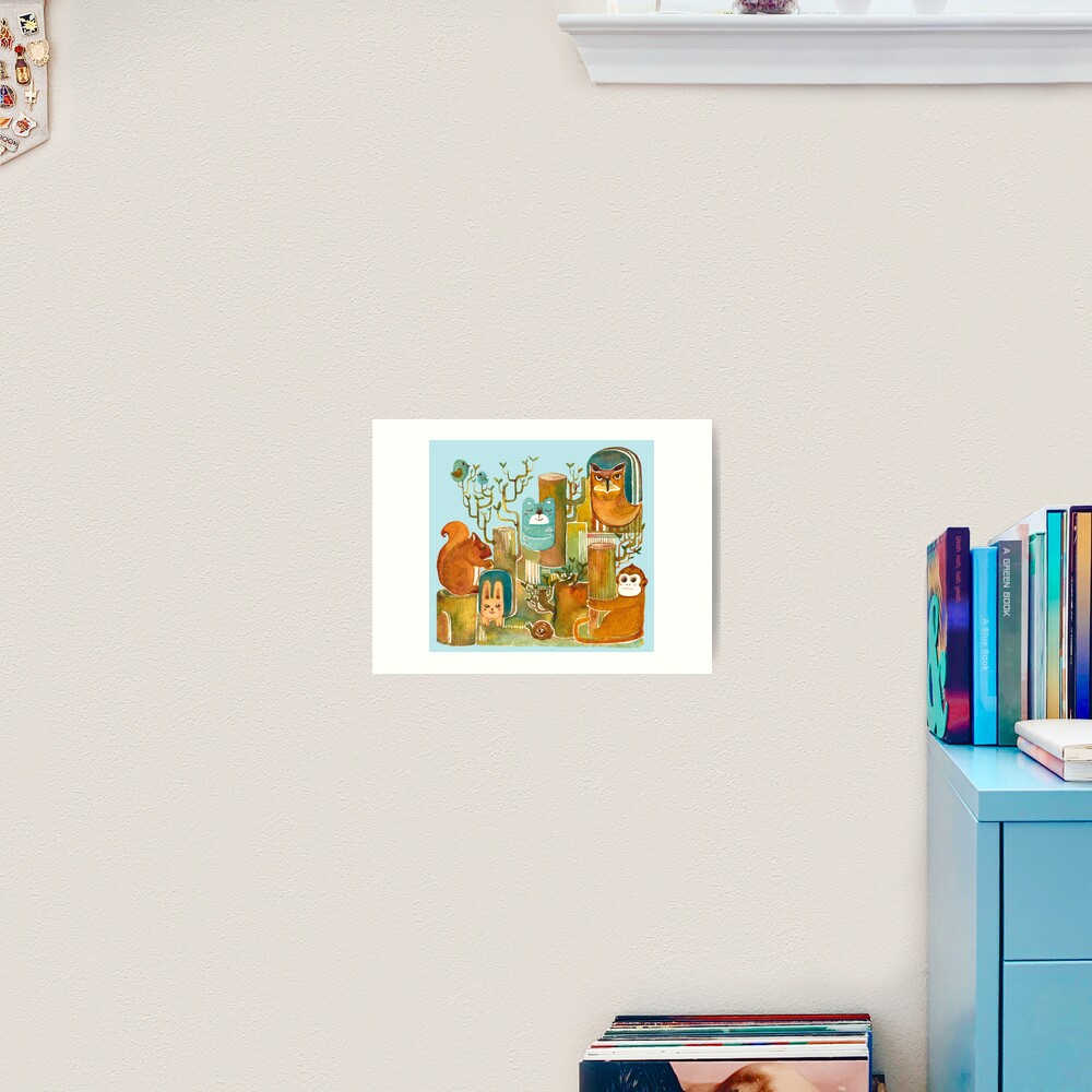 Animals in the Wood Art Print