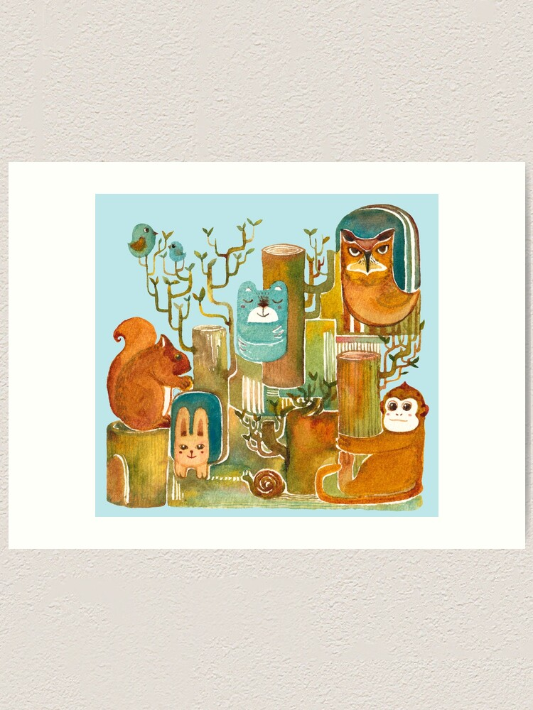 Alternate view of Animals in the Wood Art Print
