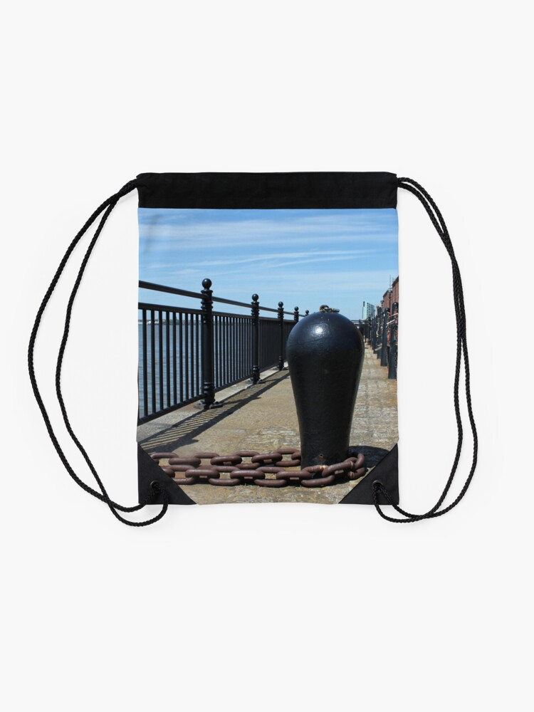 Alternate view of Old Boat Chain Next To The River Mersey, Liverpool, Merseyside Drawstring Bag