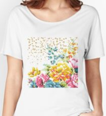 watercolor floral paint and gold confetti design Women's Relaxed Fit T-Shirt