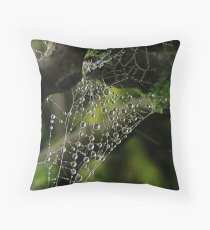 Web drops Throw Pillow