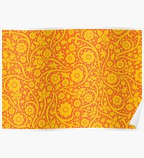 Golden flower pattern Poster
