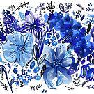 Blue Flowers galore by greenrainart