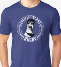 Easter Island Head Rugby Fan - White Text T-Shirt