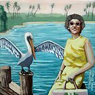 Special Vacation Pelican Bay Vintage Memories  mixed media oil painting by LindaAppleArt