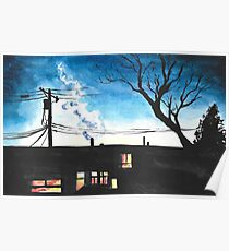 Condos at Dusk Watercolour Landscape Painting Poster