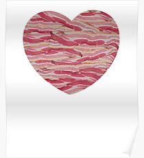I Love Bacon - Bacon Strips Heart Poster
