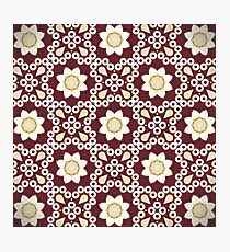 Hipster enthic print bohemian  burgundy red Moroccan pattern  Photographic Print